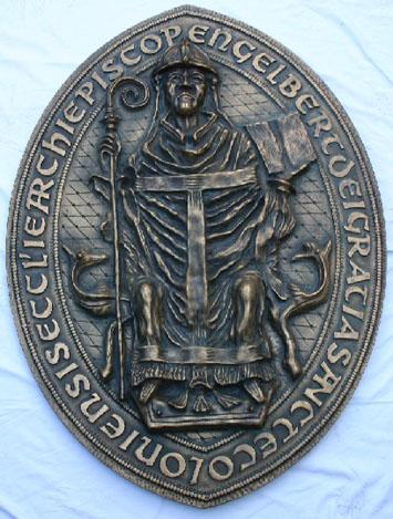 Bronserelieff av Siegfried Lunau for Engelbert-tunellen i Gevelsberg, etter erkebiskopens historiske segl